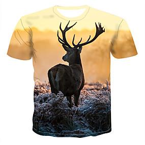 preiswerte Gratis Versand-Herrn Geometrisch / 3D / Tier - Street Schick / Elegant Übergrössen T-shirt, Rundhalsausschnitt Druck Gelb / Kurzarm