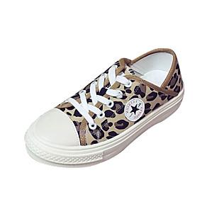voordelige Damessneakers-Dames Sneakers Lage hak Canvas Informeel Zomer Wit / Bruin / Luipaard