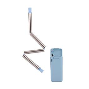preiswerte Küche & Haushalt-Silikon-Faltpipette Edelstahl-Pipettenhersteller Tragbare Mehrweg-Pipettenaufbewahrungsbox Silikon-Faltstrohhalm
