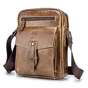 preiswerte Schultertaschen-(Bullcaptain) Herren Leder One Shoulder Messenger Bag Top Layer Leder Business Trend Mode Herrentasche