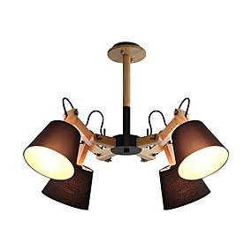preiswerte Beleuchtung-nordic simple pendelleuchte sputnik kronleuchter 4 lichter deckenleuchte halb bündig mit schwinge stoff lampenschirm umgebungslicht lackiert holz