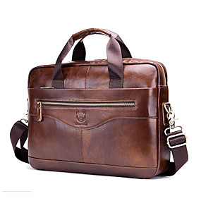 cheap New Year-(BULLCAPTAIN) Men's Leather Shoulder Crossbody Multifunction Portable Briefcase