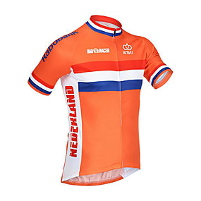 cheap Cycling & Motorcycling-21Grams Netherlands National Flag Men's Short Sleeve Cycling Jersey - Orange Bike Jersey Top Quick Dry Moisture Wicking Breathable Sports Summer Terylene Mountain Bike MTB Road Bike Cycling Clothing
