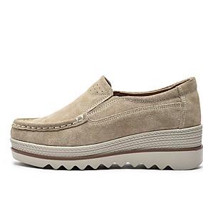 voordelige Damesschoenen met platte hak-Dames Platte schoenen Creepers Ronde Teen Leer / Suède Zomer Zwart / Donkerblauw / Grijs