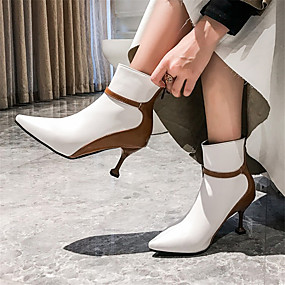 billige Mote Boots-Dame Støvler Liten hæl Spisstå PU / Syntetisk Ankelstøvler Høst vinter Hvit / Svart / Fargeblokk