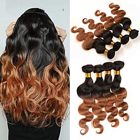 preiswerte Human Hair Weaves-4 Bündel Brasilianisches Haar Große Wellen Unbehandeltes Haar Echthaar Menschenhaar spinnt 8-30 Zoll Ombre Menschliches Haar Webarten Geruchsfrei Party extention Haarverlängerungen / 10A