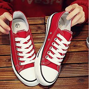 voordelige Damesschoenen met platte hak-Dames Platte schoenen Platte hak Ronde Teen Canvas Lente zomer Zwart / Wit / Rood
