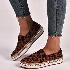voordelige Damesschoenen met platte hak-Dames Platte schoenen Platte hak Ronde Teen PU Lente & Herfst Zwart / Roze / Luipaard / Luipaard