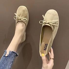 voordelige Damesschoenen met platte hak-Dames Platte schoenen Platte hak Vierkante Teen Suède Informeel Lente & Herfst Groen / Geel / Rood