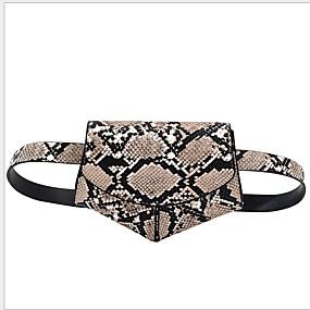 preiswerte Taschen-Damen Reißverschluss PU Hüfttasche Gestreift Schwarz / Braun / Weiß