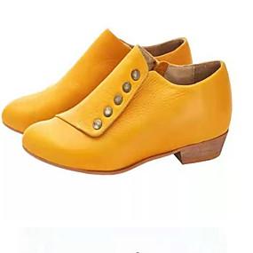baratos Sapatos Confortáveis-Mulheres Botas Sapatos Confortáveis Salto de bloco Dedo Apontado Couro Ecológico Botas Curtas / Ankle Verão Preto / Amarelo / Verde