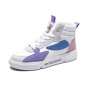voordelige Damessneakers-Dames Sneakers Platte hak Ronde Teen Lakleer Informeel / Zoet Herfst winter Zwart / Wit