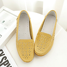 voordelige Damesinstappers & loafers-Dames Loafers & Slip-Ons Comfort Loafers Platte hak Leer Lente zomer Oranje / Geel / Blauw