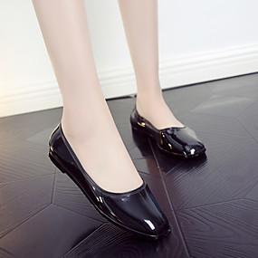 voordelige Damesschoenen met platte hak-Dames Platte schoenen Platte hak Vierkante Teen PVC Informeel Zomer Zwart / Amandel / Rood