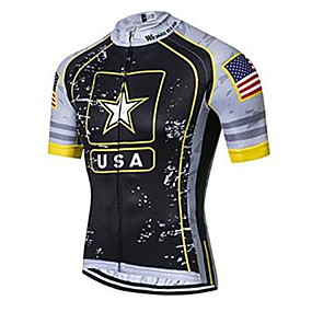 cheap Cycling & Motorcycling-21Grams American / USA National Flag Men's Short Sleeve Cycling Jersey - Black+White Bike Jersey Top Quick Dry Moisture Wicking Breathable Sports Summer Elastane Terylene Polyester Taffeta Mountain