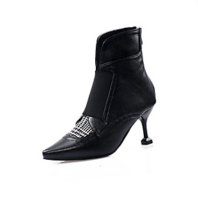 cheap Fashion Boots-Women's Boots Kitten Heel Pointed Toe PU(Polyurethane) / Synthetics Booties / Ankle Boots Fall & Winter Black / Brown / Color Block