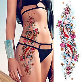 preiswerte Temporäre Tattoos-3 stücke große armmanschette tattoo skizze löwentiger wasserdicht temporäre tattoo aufkleber wilde wildtier männer voller vogel totem tattoo