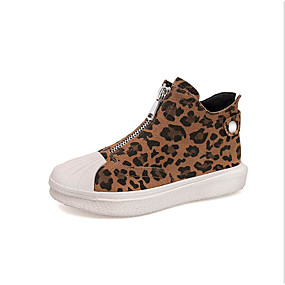 voordelige Damessneakers-Dames Sneakers Platte hak Ronde Teen Nappaleer Lente Zwart / Luipaard / Khaki