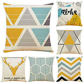 cheap Slipcovers-Set of 6 Geometric Antler Linen Square Decorative Throw Pillow Cases Sofa Cushion Covers 18x18