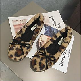 voordelige Damesschoenen met platte hak-Dames Platte schoenen Platte hak Imitatiebont Winter Wit / Zwart / Luipaard