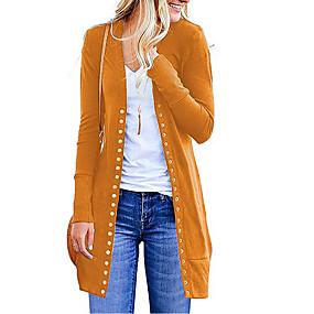 ราคาถูก New Arrivals-สำหรับผู้หญิง สีพื้น แขนยาว ชุดคลุมไหล เสื้อกันหนาวจัมเปอร์, คอวี สีดำ / สีม่วง / ส้ม S / M / L