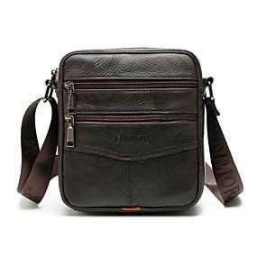 cheap Leather Shoes & Bags-Men's Zipper Cowhide Crossbody Bag Brown / Black / Coffee