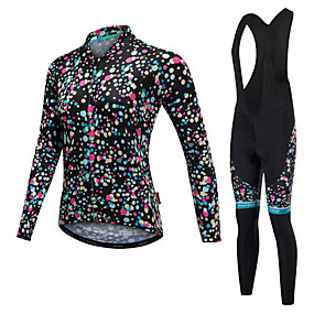 cheap Under €49-Malciklo Women's Long Sleeve Cycling Jersey with Bib Tights White Black Polka Dot Bike Clothing Suit Quick Dry Anatomic Design Reflective Strips Winter Sports Lycra Polka Dot Mountain Bike MTB Road