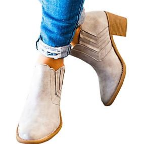 billige Mote Boots-Dame Støvler Tykk hæl Rund Tå PU Ankelstøvler Sommer Svart / Brun / Grå