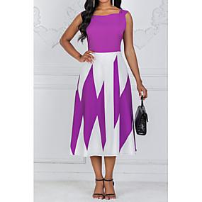 preiswerte Gratis Versand-Damen Übergrössen Ausgehen A-Linie Kleid Einfarbig Midi Quadratischer Ausschnitt Hohe Taillenlinie