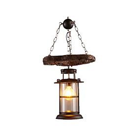 povoljno Viseća rasvjeta-industrijski rustikalni luster drvo privjesak svjetlo metal fenjer luster farma kuća privjesak svjetlo vodio žarulje