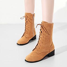 billige Mote Boots-Dame Støvler Tykk hæl Rund Tå PU Støvletter Vintage / Preppy Høst vinter Svart / Vin / Gul