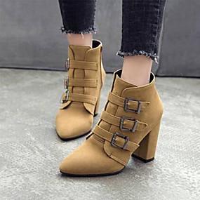 billige Mote Boots-Dame Støvler Blokker hælen Spisstå Spenne Semsket lær Ankelstøvler Søt / minimalisme Vår & Vinter / Høst vinter Rød / Svart / Gul