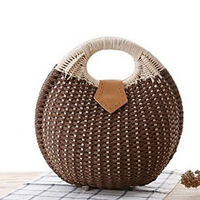 preiswerte Taschen-Damen Reißverschluss Stroh Tasche mit oberem Griff Volltonfarbe Grün / Beige / Khaki