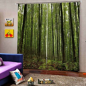 cheap Curtains Drapes-3D Print Privacy Two Panels Curtain Living Room   Curtains