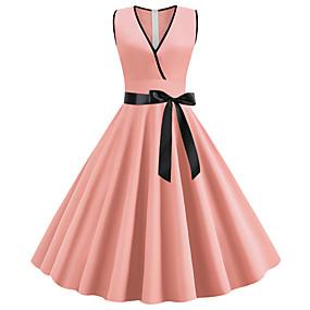 preiswerte Damen Kleider-Damen Retro Street Schick Schlank Chiffon Kleid - Schleife, Solide Midi V-Ausschnitt Staubige Rose