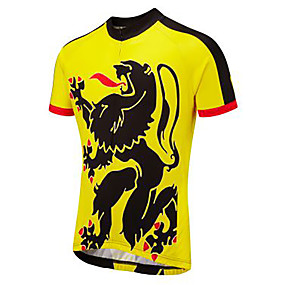 cheap Cycling & Motorcycling-21Grams Novelty Men's Short Sleeve Cycling Jersey - Black / Yellow Bike Jersey Top Quick Dry Moisture Wicking Breathable Sports Summer Terylene Mountain Bike MTB Road Bike Cycling Clothing Apparel