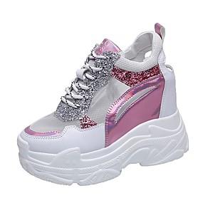 voordelige Damessneakers-Dames Sneakers Creepers Ronde Teen Kant / Lakleer Sportief / Brits Herfst / Lente zomer Blauw / Roze / Camouflage Kleur