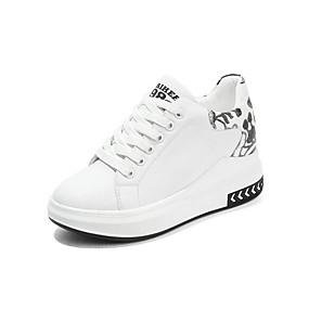 voordelige Damessneakers-Dames Sneakers Verborgen hiel Ronde Teen Schapenleer Sportief Lente zomer zwart / wit / ホワイトとグリーン