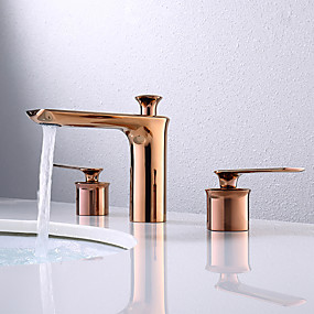 preiswerte Kitchen & Bathroom-Waschbecken Wasserhahn - Verbreitete Rotgold Mittellage Zwei Griffe Drei LöcherBath Taps