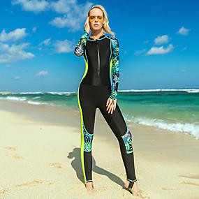 billiga Surfing, simning och dykning-SBART Dam Tätsittande dykardräkt Nylon Dykardräkter UV Solskydd Snabb tork Elastisk Heltäckande Dragkedja fram - Simmning Surfing Snorkelfenor Lövtryck Vår, Höst, Vinter, Sommar