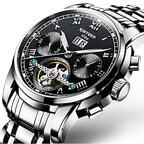 cheap Clearance-KINYUED Men's Skeleton Watch Mechanical Watch Swiss Automatic self-winding Black / Silver 30 m Water Resistant / Waterproof Calendar / date / day Day Date Luxury Classic Casual Fashion - Black Gold