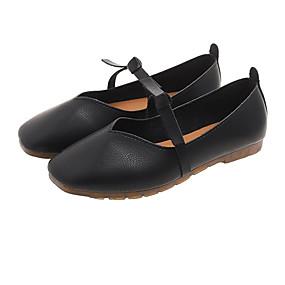 voordelige Damesschoenen met platte hak-Dames Platte schoenen Platte hak Vierkante Teen PU Informeel Lente Beige / Rood / Amandel