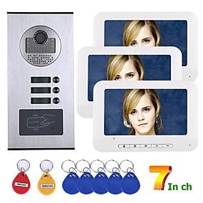 preiswerte Video Türsprechanlage-7 zoll 3 wohnung / familie video-türsprechanlage gegensprechanlage rfid ir-cut hd 1000tvl kamera türklingel kamera mit 3 knöpfen 3 monitor