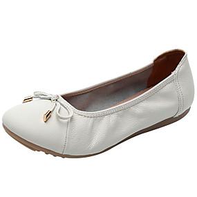 voordelige Damesschoenen met platte hak-Dames Platte schoenen Platte hak Nappaleer Lente & Herfst Zwart / Lichtblauw / Wit