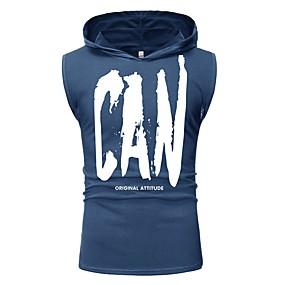 ราคาถูก จัดส่งฟรี-สำหรับผู้ชาย ขนาดของยุโรป / อเมริกา เสื้อกล้าม ลายพิมพ์ ฮู้ด ลายตัวอักษร ใบไม้สีเขียวที่มีสามแฉก / เสื้อไม่มีแขน