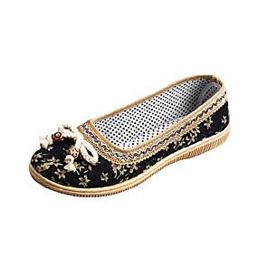 voordelige Damesinstappers & loafers-Dames Loafers & Slip-Ons Geborduurd Platte hak Ronde Teen Linnen Vintage Zomer Zwart / Rood