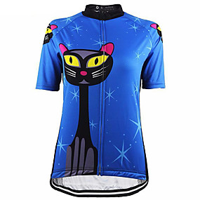 cheap Cycling & Motorcycling-21Grams Cat Animal Women's Short Sleeve Cycling Jersey - Blue Bike Jersey Top Quick Dry Moisture Wicking Breathable Sports Summer Terylene Mountain Bike MTB Road Bike Cycling Clothing Apparel