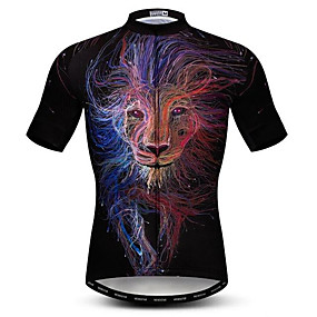 cheap Cycling & Motorcycling-21Grams 3D Lion Animal Men's Short Sleeve Cycling Jersey - Black+White Bike Jersey Top Quick Dry Moisture Wicking Breathable Sports Summer Elastane Polyester Mountain Bike MTB Road Bike Cycling