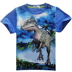 ราคาถูก จัดส่งฟรี-เด็ก เด็กผู้ชาย พื้นฐาน Dinosaur ลายพิมพ์ ลายพิมพ์ แขนสั้น ฝ้าย เสื้อยืด สีน้ำเงิน