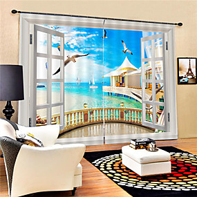 cheap Curtains & Drapes-3D Beautiful Beach Scenery Printed Privacy Two Panels polyester Curtain For Bathroom / Living Room Decorative Waterproof Dust-proof High-quality Curtains